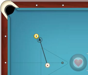Line up the cue ball just like this, aiming at the edge of the 1 ball